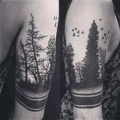 Black work forest silhouette tattoo done by Oksana weber in Jersey city tattoo shop