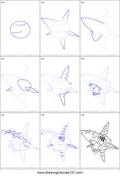 How to Draw Mega Sharpedo from Pokemon printable step by step drawing sheet : DrawingTutorials101.com