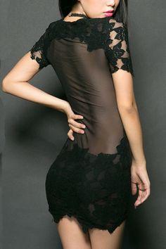 Clothing   Dresses   Short Sleeved Mini Bodycon Lace Dress   White, black #roseandpose