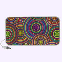 Retro Rainbow Circles Pattern Pc Music Speakers $44.95