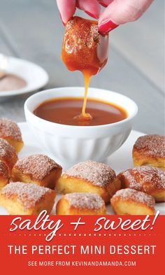 Mini Desserts to DIE FOR! Your taste buds will thank you :) http://www.kevinandamanda.com/recipes/appetizer/homemade-soft-cinnamon-sugar-pretzel-bites-with-salted-caramel-dipping-sauce.html#_a5y_p=290192&_a5y_c=457