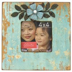 "4"" x 4"" Blue Distressed Frame with Metal Flower 