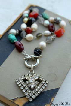 Gemstone, Pearl and Vintage Rhinestone Necklace
