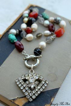 Gemstone, Pearl and Vintage Rhinestone Necklace