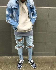 "the inspiration about Designer Men Jeans Ideas can just read this full article we had created for you. So check out Amazing Designer Men Jeans Ideas"" Street Outfit, Street Wear, Vetement Hip Hop, How To Make Ripped Jeans, Mein Style, Fashion Killa, Denim Fashion, Street Fashion, Distressed Denim"