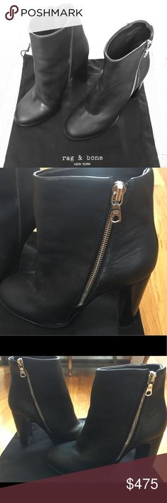 Rag & Bone Black Leather Ankle Boots These ankle booties have hardly been worn. They are in very good condition. They have been kept inside the shoe bag inside the box. rag & bone Shoes Ankle Boots & Booties