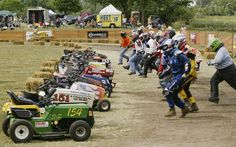 Ah lawn mower races :) Yes, they appear in Fried Pickles and the Fuzz :)
