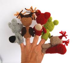 5 animal finger Puppet, crocheted squirrell, frog, fox, owl and wolf, stuffed woodland forest animal, toy to play fairy tale, tiny amigurumi. $36.00, via Etsy.