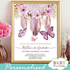 Celebrate the upcoming birth of your baby girl with these gorgeous bohemian themed butterflies baby shower invitations featuring a hand painted American Indian dream catcher with flowers, feathers and fluttering butterflies in pink accents against a white backdrop sprinkled with faux gold glitter. #butterfly #babyshowerideas #butterflytheme #babyshowerinvitations #bohochic