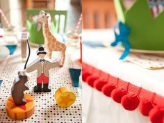 red-pom-pom-trim-table-runner-wooden-circus-figurines | circus birthday