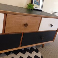 Upcycled Furniture Retro Modern Chest Of Drawers. Blonde Wood Black And  White Living Room Bedroom. Chevron Rug. Scandinavian Minimalist Design  Furniture.