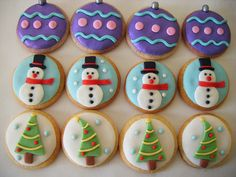 christmas cookies...cute way to decorate your cookies using fondant