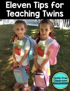 11 tips for teaching twins - Should they be in the same classroom? How do you handle conferences? Ensure you treat them as individuals. And more! Plus great twin book ideas! Great tips for the preschool, Kindergarten, 1st, 2nd, 3rd, 4th, or 5th grade teac
