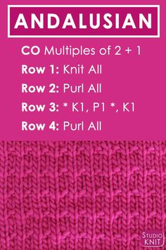 Andalusian Knit Stitch Pattern Free Instructions by Studio Knit with Video Tutorial #StudioKnit #Andalusian #KnitStitchPattern #knittingstitches #freeknittingpattern