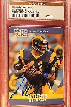 Cert. AU-F 1487 - 1990 Pro Set # 165 - Jim Everett - Authentic Autograph