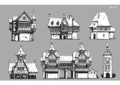 Sketchs - middle ages house, Maxime BiBi on ArtStation at https://www.artstation.com/artwork/9Q4GW