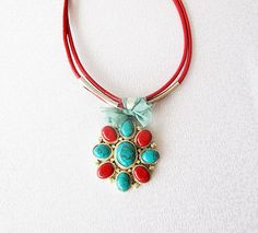 Afghan silver jewelry red coral  turquoise  Afghan by aynurdereli, $75.00