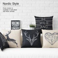Noir blanc Cerf oreiller, géométriques nordiques Oreiller coussin, linge taie d'oreiller, canapé coussins Oreillers décoratifs pour la maison