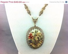 25% Off SHOP SALE, Fancy West Germany Sugar Cabochon Necklace. Victorian Style. Flowers. on Etsy, $30.00