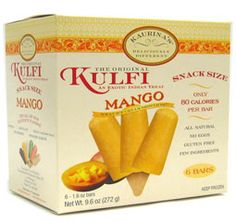 Kaurina's Mango Kulfi - 80 calories a bar, made with pure cooked milk, cane sugar, premium alphonso mango pulp, no eggs, no preservatives Vegan Vegetarian, Vegetarian Recipes, Mango Kulfi, Indian Food Recipes, Preserves, Ice Cream, Pure Products, Snacks, Milk