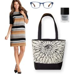 """Black Sketch & Stripes"" by sassysaks @Polyvore http://www.sassysaks.com/products/city-tote/black-sketch.php"