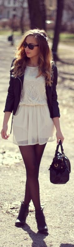 Great way to transition the summer white lace dress trend into fall!