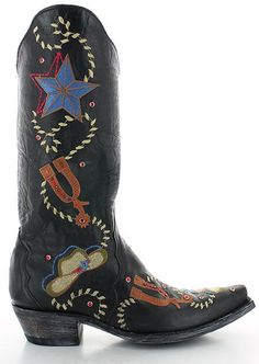 Rivertrail Mercantile - Old Gringo Ye Haw Black L2460-3, $529.00… Old Gringo Boots, Walk The Line, Fashion Marketing, Cool Boots, Cowgirl Boots, Floral Embroidery, Old Things, My Style, Leather