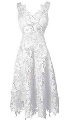 KIMILILY Women's V neck Elengant Floral Lace Swing Bridesmaid Dress(W,L) -- Be sure to check out this awesome product.