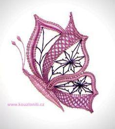 33 - Velký paličkovaný motýl - velikost krajky 22x18 cm Bobbin Lace Patterns, Embroidery Patterns, Doll Amigurumi Free Pattern, Bruges Lace, Bobbin Lacemaking, Lace Art, Crochet Butterfly, Free Motion Embroidery, Lace Jewelry