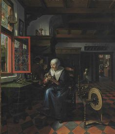 Matthys Naiveu (Leiden 1647-c.1721 Amsterdam)  Interior with a gentleman smoking a pipe and an old woman at her spinning wheel