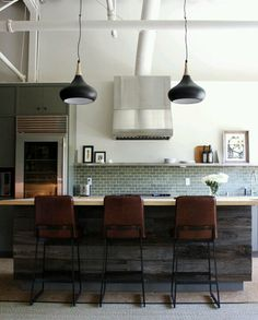 Rustic and modern mix - love the subway tile