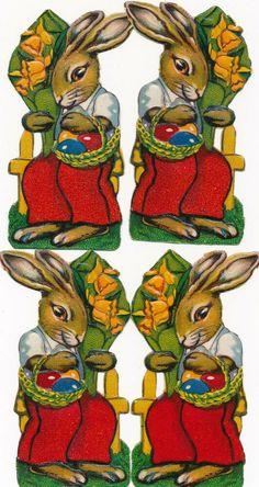 ORIGINAL Oblaten DIE CUT SCRAPS Ostern Easter 4 x Osterhase mit Blumen Paper, Animals, Ebay, Easter Bunny, Easter, Animais, Animales, Animaux, Animal