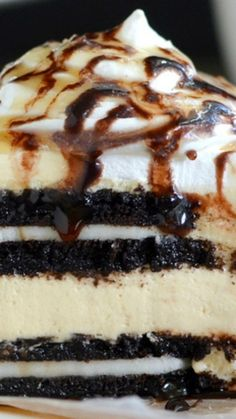 Salted Caramel Oreo Icebox Cake Recipe ~ No bake salted caramel cheesecake layered with coffee dipped Oreo cookies is a delicious and easy dessert to make any time of year.