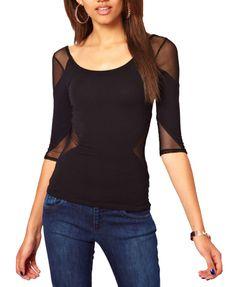 Simple Style Seven Sleeve Round Neckline T-shirt