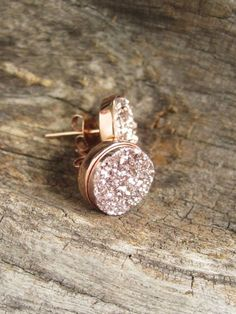 NEW Rose Gold Druzy Studs Titanium Drusy Quartz by julianneblumlo, $85.00