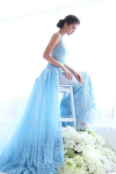 Avedon Couture Icy Blue Gown
