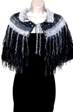 Fringe shaggy, capelet,cape,shoulder wrap,Ombre, office dress, shoulder wrap, one of a kind by ZzDesign on Etsy