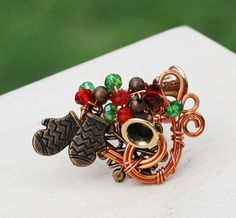 Winter Ring Copper Wire Wrap Adjustable Glove Bell Snowflake Crystals Green Red #Jeanninehandmade #Wrap