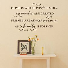 Home quote for kitchen or living room wall