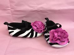 Laura Ashley Zebra Print Shoes Pink Poms Crib Shoes Size 2 NWT Gift  #LauraAshley #CribShoes