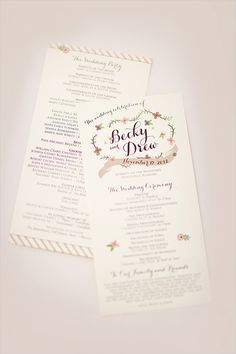 wedding program by the dotted line