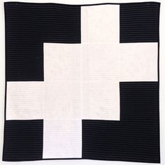 Black and white Modern Quilt by Initial K Studio