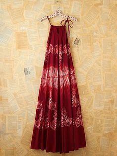 Vintage Maroon Floral Printed Maxi Dress