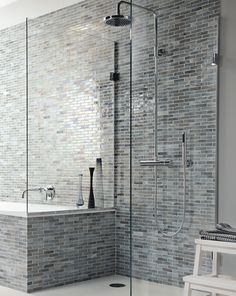 Lily Bathroom from Fired Earth Love the shower beside the bath idea, and those tiles! Lodge Bathroom, New Bathroom Designs, Modern Shower Design, Restroom Decor, Bathroom Styling, Bathroom Design Styles, Fired Earth, Glamorous Bathroom, Bathroom Design