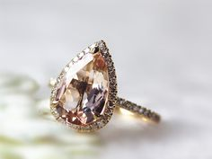 14K Yellow  Gold Tear Drop Morganite Ring 2.65ct Pear Shaped Diamond Halo Ring Wedding Ring Pink Colored Gems Ring Morganite Engagement Ring by InOurStar on Etsy https://www.etsy.com/listing/196094840/14k-yellow-gold-tear-drop-morganite-ring