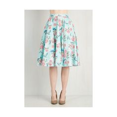 50s Long High Waist Freewheeling Whimsy Skirt by ModCloth (73 CAD) ❤ liked on Polyvore featuring skirts, apparel, blue, bottoms, long blue skirt, midi skirt, mid calf skirt, blue high waisted skirt and blue midi skirt