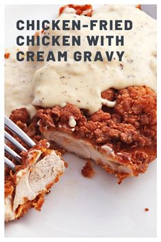We use our fried chicken technique on boneless, skinless chicken thighs for an extra-crisp crust and juicy meat. So how do you make extra-crunchy, well-seasoned fried chicken even tastier? With a peppery cream gravy, of course. Country Fried Chicken, Fried Chicken Recipes, Recipe Chicken, Chicken Fried Chicken, Chicken Fried Steak Batter, Cream Chicken, Fried Chicken Breast, Roasted Chicken, Grilled Chicken