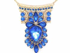 Blue crystal #pendant #women art deco necklace gold #plated w extender chain new,  View more on the LINK: 	http://www.zeppy.io/product/gb/2/371453140974/