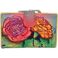 Anuschka Two Fold Wallet Colorful Carnations Leather Women's Handbag