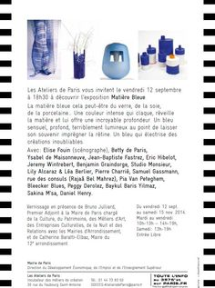 """Exposition """"Matière bleue"""" du 11.09 au 15.11.2014"""